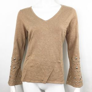 INTERNATIONAL CONCEPTS STUDDED BELL SLEEVE SWEATER